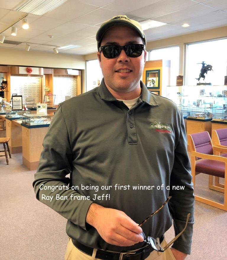 jeff wearing his new ray bans in our Browns Mills, NJ Eye Care clinic